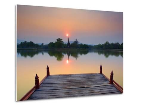 Wat Sa Si at Dusk, Sukhothai Historical Park, UNESCO World Heritage Site, Sukhothai Province, Thail-Ben Pipe-Metal Print