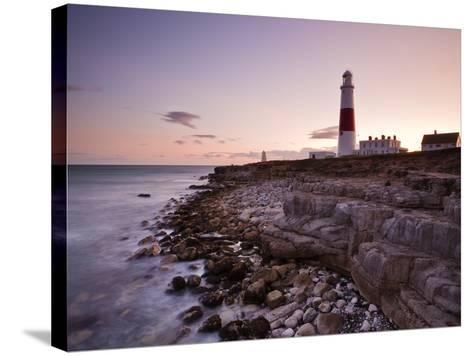 Portland Bill Lighthouse at Sunset, Dorset, England, United Kingdom, Europe-Julian Elliott-Stretched Canvas Print