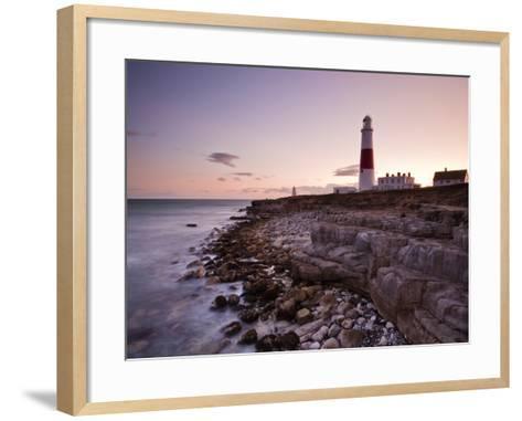 Portland Bill Lighthouse at Sunset, Dorset, England, United Kingdom, Europe-Julian Elliott-Framed Art Print
