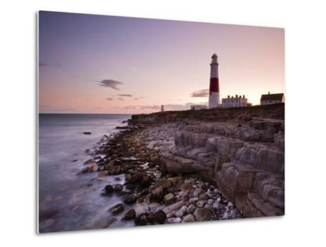 Portland Bill Lighthouse at Sunset, Dorset, England, United Kingdom, Europe-Julian Elliott-Metal Print