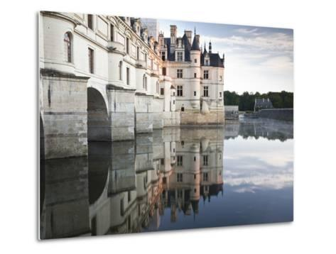 The Chateau of Chenonceau Reflecting in the Waters of the River Cher, UNESCO World Heritage Site, I-Julian Elliott-Metal Print
