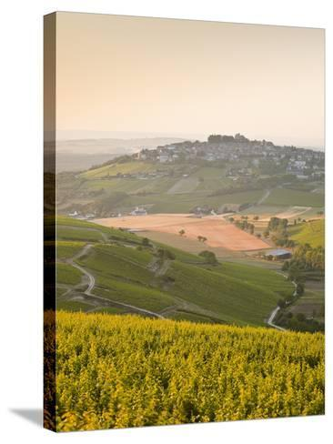 Dawn Light Starts to Fill the Skies Above the Village and Vineyards of Sanerre, Cher, Loire Valley,-Julian Elliott-Stretched Canvas Print