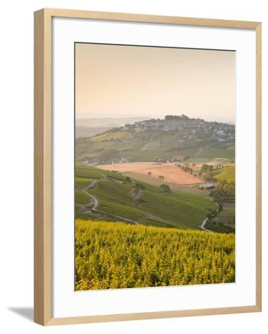 Dawn Light Starts to Fill the Skies Above the Village and Vineyards of Sanerre, Cher, Loire Valley,-Julian Elliott-Framed Art Print
