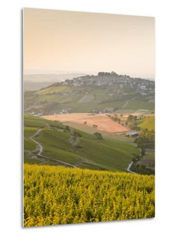 Dawn Light Starts to Fill the Skies Above the Village and Vineyards of Sanerre, Cher, Loire Valley,-Julian Elliott-Metal Print