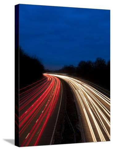 M6 Motorway at Dusk Near Juntion 13, Staffordshire, England, United Kingdom, Europe-Chris Hepburn-Stretched Canvas Print