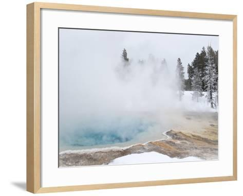 West Thumb Geyser Basin Winter Landscape with Geothermal Spring, Yellowstone National Park, UNESCO -Kimberly Walker-Framed Art Print