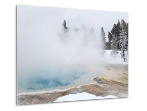 West Thumb Geyser Basin Winter Landscape with Geothermal Spring, Yellowstone National Park, UNESCO -Kimberly Walker-Metal Print