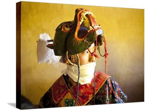 Buddhist Monk Waiting for the Next Dance During Gangtey Tsechu at Gangte Goemba, Gangte, Phobjikha -Lee Frost-Stretched Canvas Print