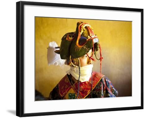 Buddhist Monk Waiting for the Next Dance During Gangtey Tsechu at Gangte Goemba, Gangte, Phobjikha -Lee Frost-Framed Art Print