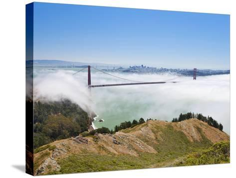 Golden Gate Bridge and the San Francisco Skyline Floating Above the Fog on a Foggy Day in San Franc-Gavin Hellier-Stretched Canvas Print