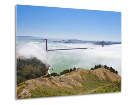 Golden Gate Bridge and the San Francisco Skyline Floating Above the Fog on a Foggy Day in San Franc-Gavin Hellier-Metal Print