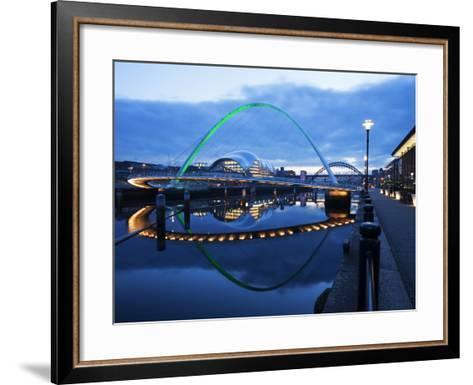 Gateshead Millennium Bridge, the Sage and Tyne Bridge at Dusk, Spanning the River Tyne Between Newc-Mark Sunderland-Framed Art Print