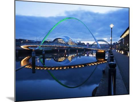 Gateshead Millennium Bridge, the Sage and Tyne Bridge at Dusk, Spanning the River Tyne Between Newc-Mark Sunderland-Mounted Photographic Print