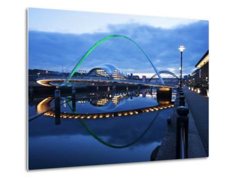 Gateshead Millennium Bridge, the Sage and Tyne Bridge at Dusk, Spanning the River Tyne Between Newc-Mark Sunderland-Metal Print