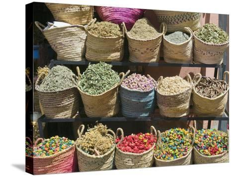 Spices for Sale, Souk in the Medina, Marrakech (Marrakesh), Morocco-Nico Tondini-Stretched Canvas Print