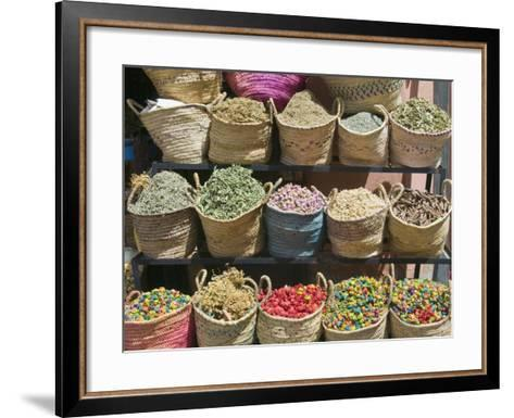 Spices for Sale, Souk in the Medina, Marrakech (Marrakesh), Morocco-Nico Tondini-Framed Art Print