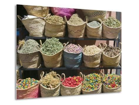 Spices for Sale, Souk in the Medina, Marrakech (Marrakesh), Morocco-Nico Tondini-Metal Print