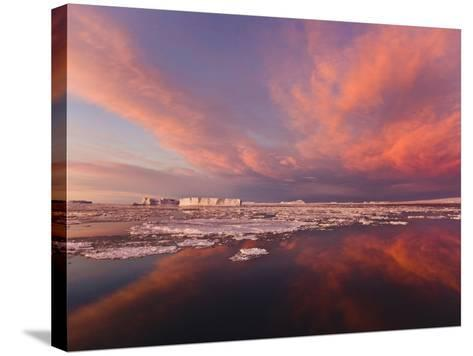 Huge Iceberg and Ice Floes in the Ocean at Sunrise, Antarctica-Keren Su-Stretched Canvas Print