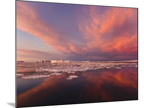 Huge Iceberg and Ice Floes in the Ocean at Sunrise, Antarctica-Keren Su-Mounted Photographic Print
