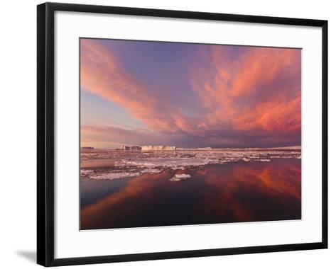 Huge Iceberg and Ice Floes in the Ocean at Sunrise, Antarctica-Keren Su-Framed Art Print