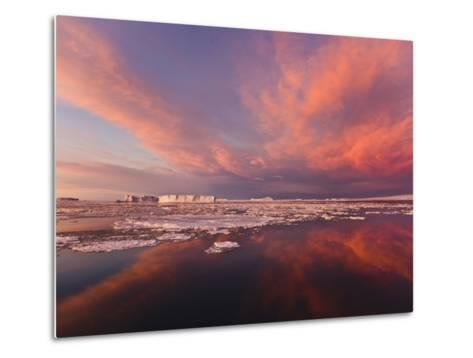 Huge Iceberg and Ice Floes in the Ocean at Sunrise, Antarctica-Keren Su-Metal Print