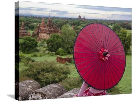 Girl Overlooking Temples of Bagan, Myanmar-Keren Su-Stretched Canvas Print
