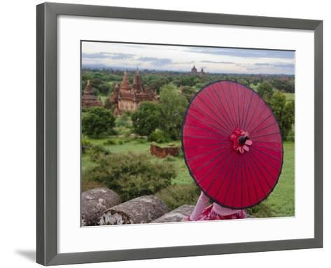 Girl Overlooking Temples of Bagan, Myanmar-Keren Su-Framed Art Print