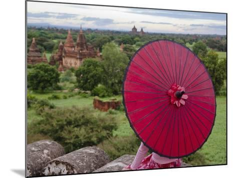 Girl Overlooking Temples of Bagan, Myanmar-Keren Su-Mounted Photographic Print