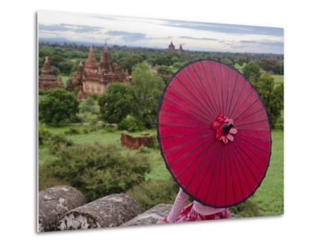 Girl Overlooking Temples of Bagan, Myanmar-Keren Su-Metal Print