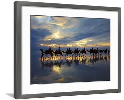 Tourist Camel Train on Cable Beach at Sunset, Broome, Kimberley Region, Western Australia-David Wall-Framed Art Print