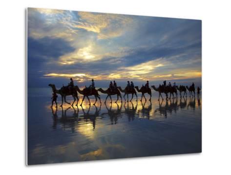 Tourist Camel Train on Cable Beach at Sunset, Broome, Kimberley Region, Western Australia-David Wall-Metal Print