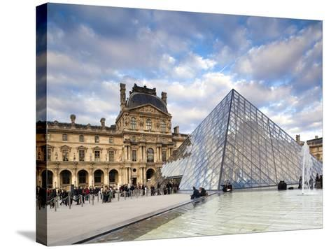 Musee Du Louvre Museum and the Louvre Pyramid, Paris, France-Walter Bibikow-Stretched Canvas Print