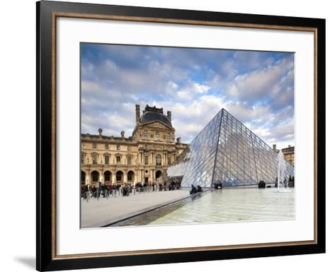 Musee Du Louvre Museum and the Louvre Pyramid, Paris, France-Walter Bibikow-Framed Art Print