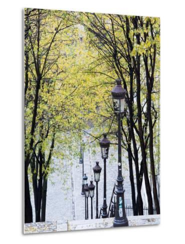 Autumn, Rue De Foyatier Steps to the Place Du Sacre Coeur, Montmartre, Paris, France-Walter Bibikow-Metal Print