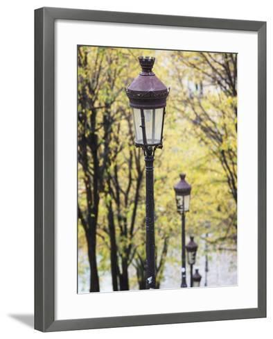 Autumn, Rue De Foyatier Steps to the Place Du Sacre Coeur, Montmartre, Paris, France-Walter Bibikow-Framed Art Print