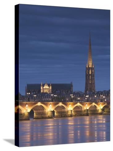 Eglise St-Michel, Garonne River, Pont De Pierre Bridge, Bordeaux, Aquitaine Region, France-Walter Bibikow-Stretched Canvas Print