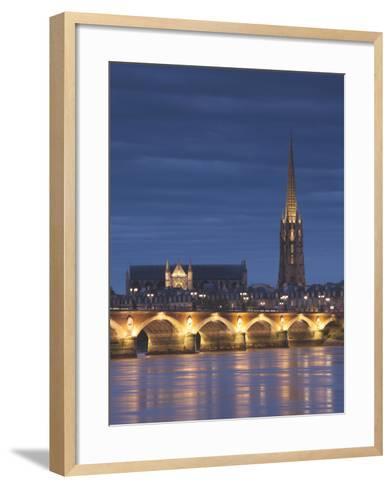 Eglise St-Michel, Garonne River, Pont De Pierre Bridge, Bordeaux, Aquitaine Region, France-Walter Bibikow-Framed Art Print
