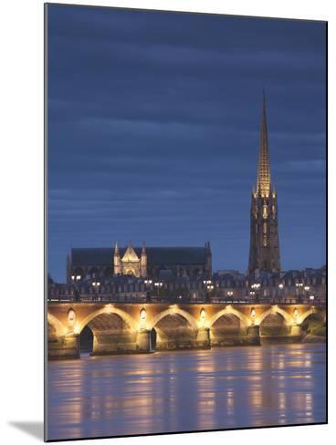 Eglise St-Michel, Garonne River, Pont De Pierre Bridge, Bordeaux, Aquitaine Region, France-Walter Bibikow-Mounted Photographic Print