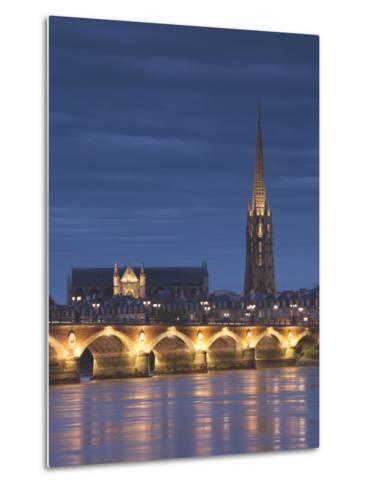 Eglise St-Michel, Garonne River, Pont De Pierre Bridge, Bordeaux, Aquitaine Region, France-Walter Bibikow-Metal Print