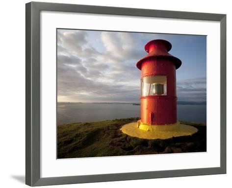 Lighthouse on Bluff Above Stykkisholmer, Iceland-Dave Bartruff-Framed Art Print