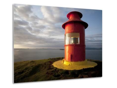 Lighthouse on Bluff Above Stykkisholmer, Iceland-Dave Bartruff-Metal Print
