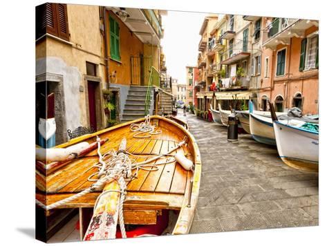 Fishing Boats in Manarola, Cinque Terre, Tuscany, Italy-Richard Duval-Stretched Canvas Print