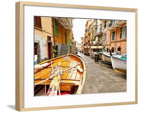 Fishing Boats in Manarola, Cinque Terre, Tuscany, Italy-Richard Duval-Framed Art Print