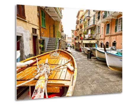 Fishing Boats in Manarola, Cinque Terre, Tuscany, Italy-Richard Duval-Metal Print