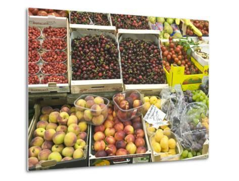 Fruit and Vegetables for Sale at Market, Florence, Tuscany, Italy-Rob Tilley-Metal Print