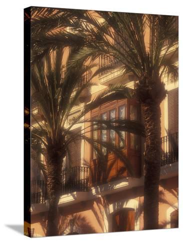 Building and Palms, Eivissa, Ibiza, Balearics, Spain-Walter Bibikow-Stretched Canvas Print