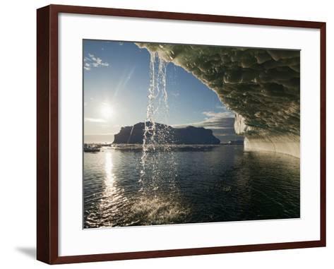 Midnight Sun Lights Iceberg, Jakobshavn Glacier, Disko Bay, Ilulissat, Greenland-Paul Souders-Framed Art Print