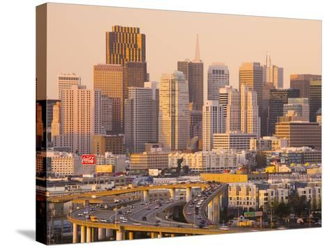 View of Downtown and I-280 Highway, Potrero Hill, San Francisco, California, Usa-Walter Bibikow-Stretched Canvas Print