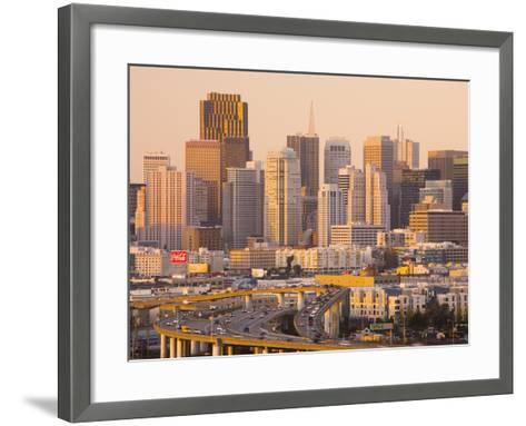 View of Downtown and I-280 Highway, Potrero Hill, San Francisco, California, Usa-Walter Bibikow-Framed Art Print