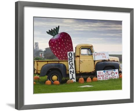Route 1, Old Pickup Truck at Roadside Fruit Stand, Swanton, Central Coast, California, Usa-Walter Bibikow-Framed Art Print